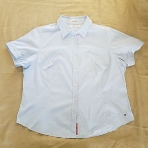 Woman TOMMY HILFIGER Blue Short Sleeve Button Down